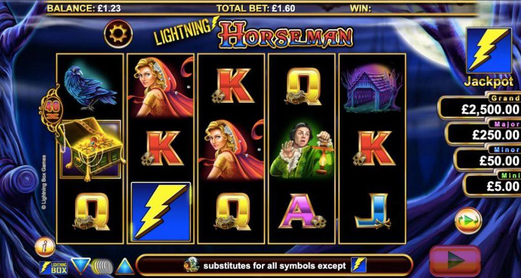 screenshot of Lightning Horseman online slots game by NYX gaming