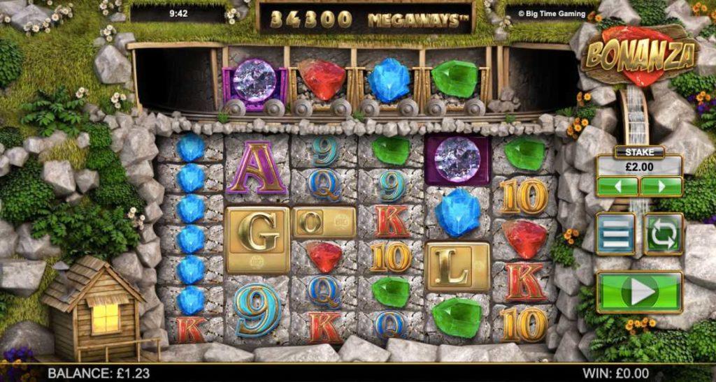 screenshot of Bonanza Megaways online slots game by NYX Gaming