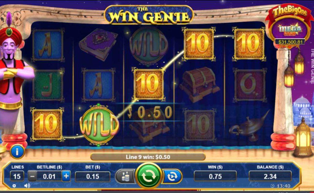 The Win Genie online slot casino game showing wild