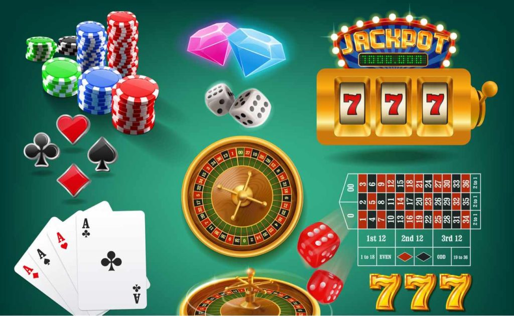 Vector Illustration Of various Casino Game Icons on green background
