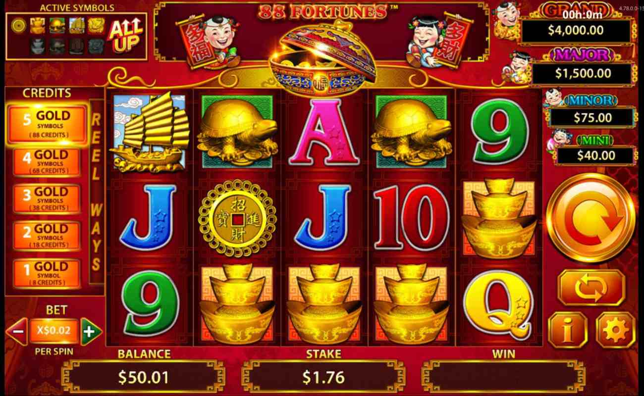 88 fortunes online slot casino game icons