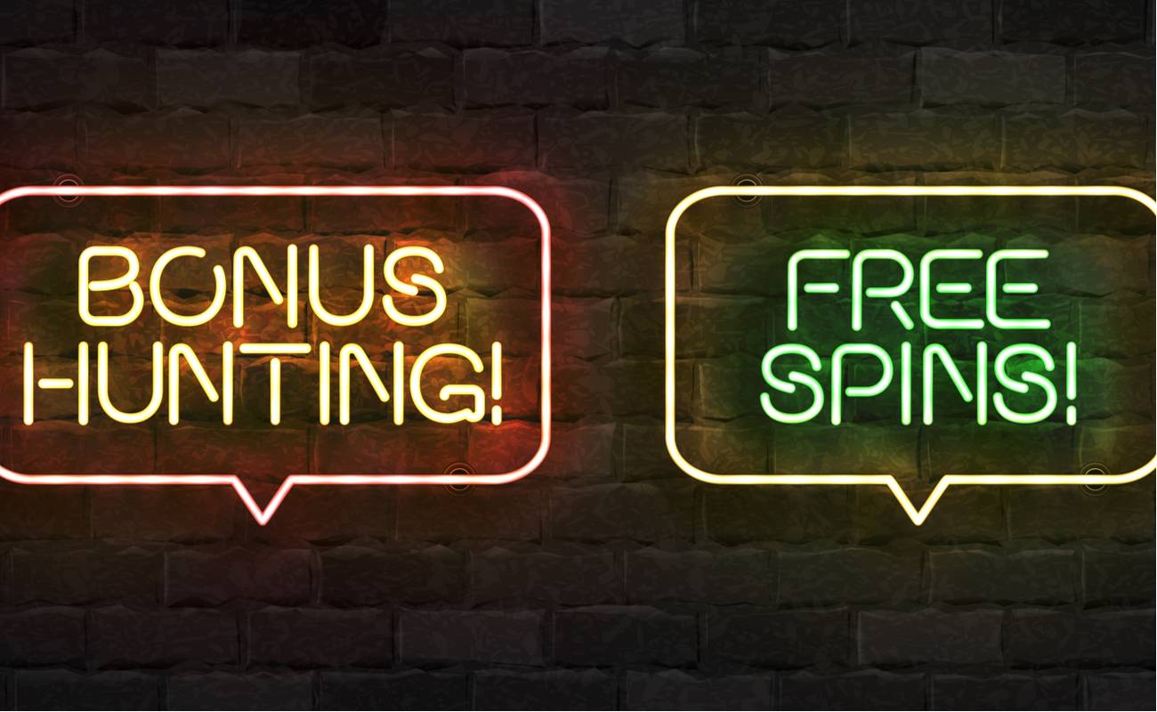 Vector set of a realistic isolated neon sign of Bonus Hunting and Free Spins