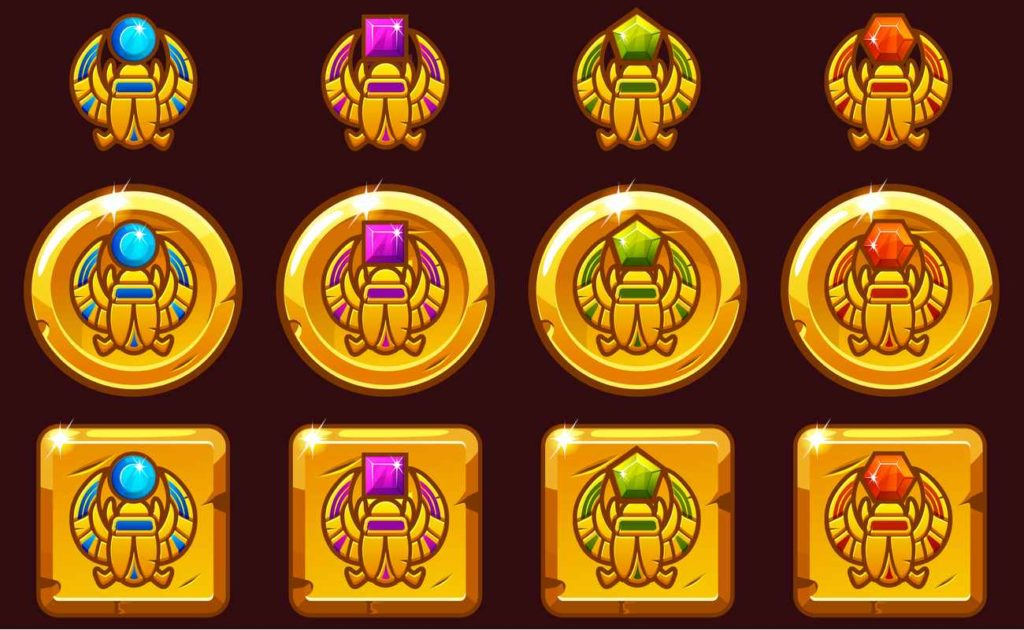 Vector Egyptian golden icons in different versions