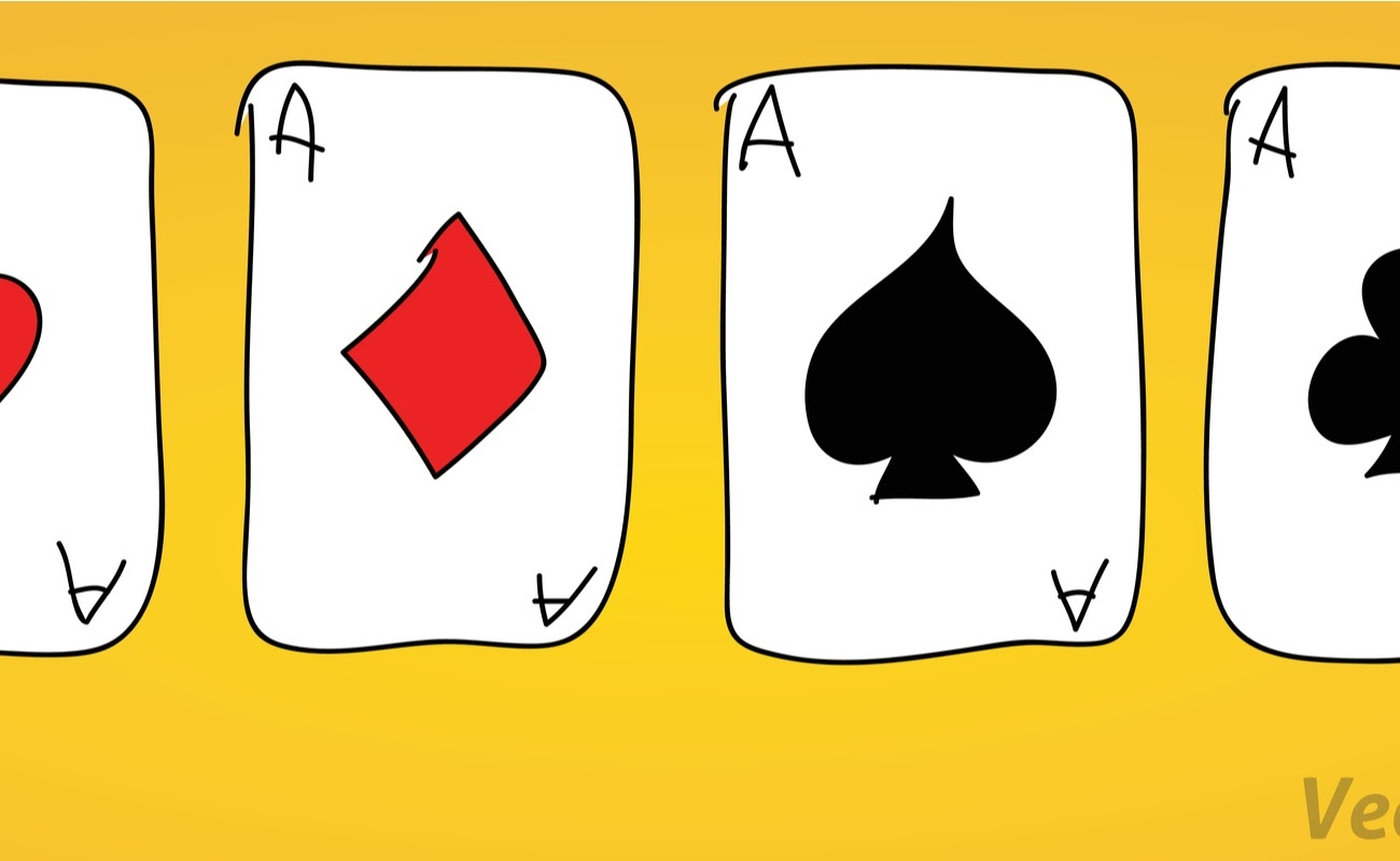 A set of four hand-drawn aces. Four of a kind on yellow background