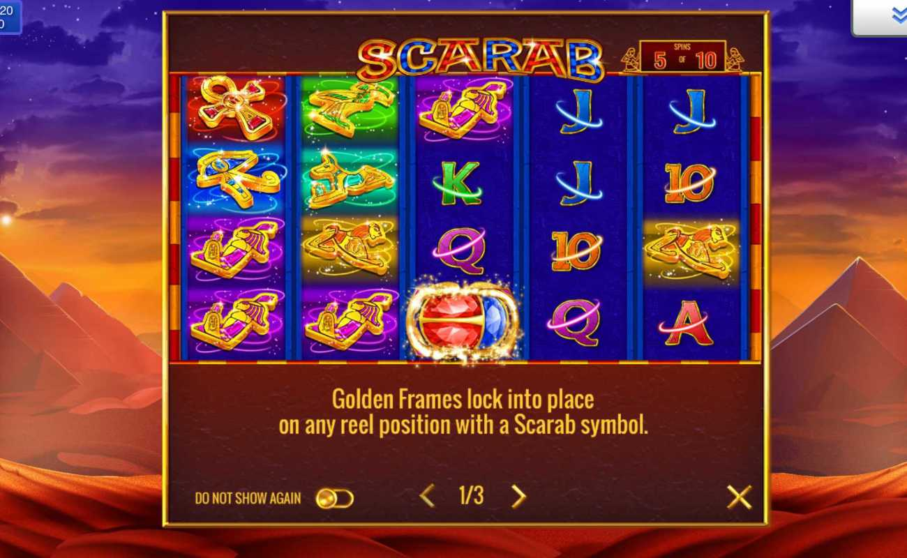 Scarab online slot game icons with desert background
