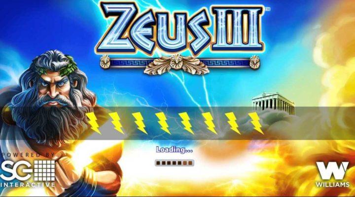 Zeus III online slots casino game loading page