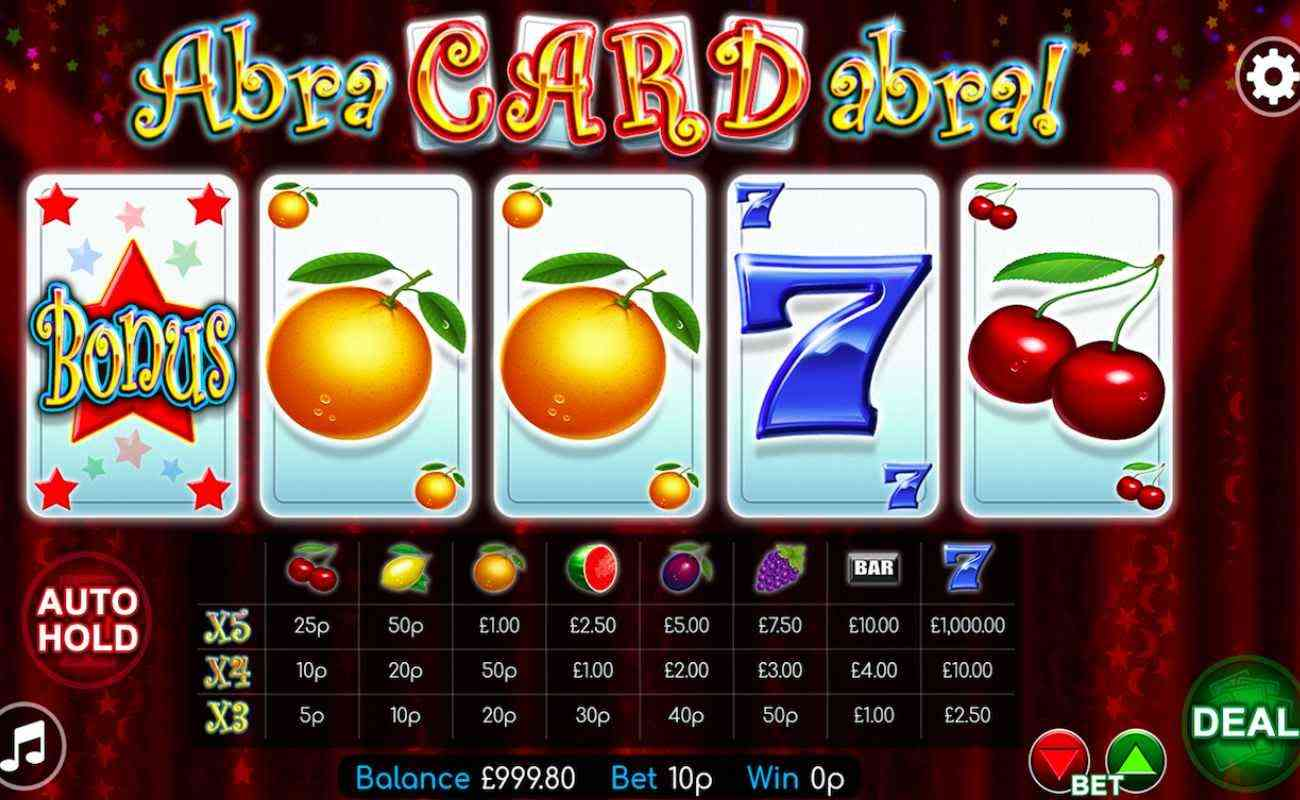 Abracardabra slots game screenshot with fruit and number 7 on cards