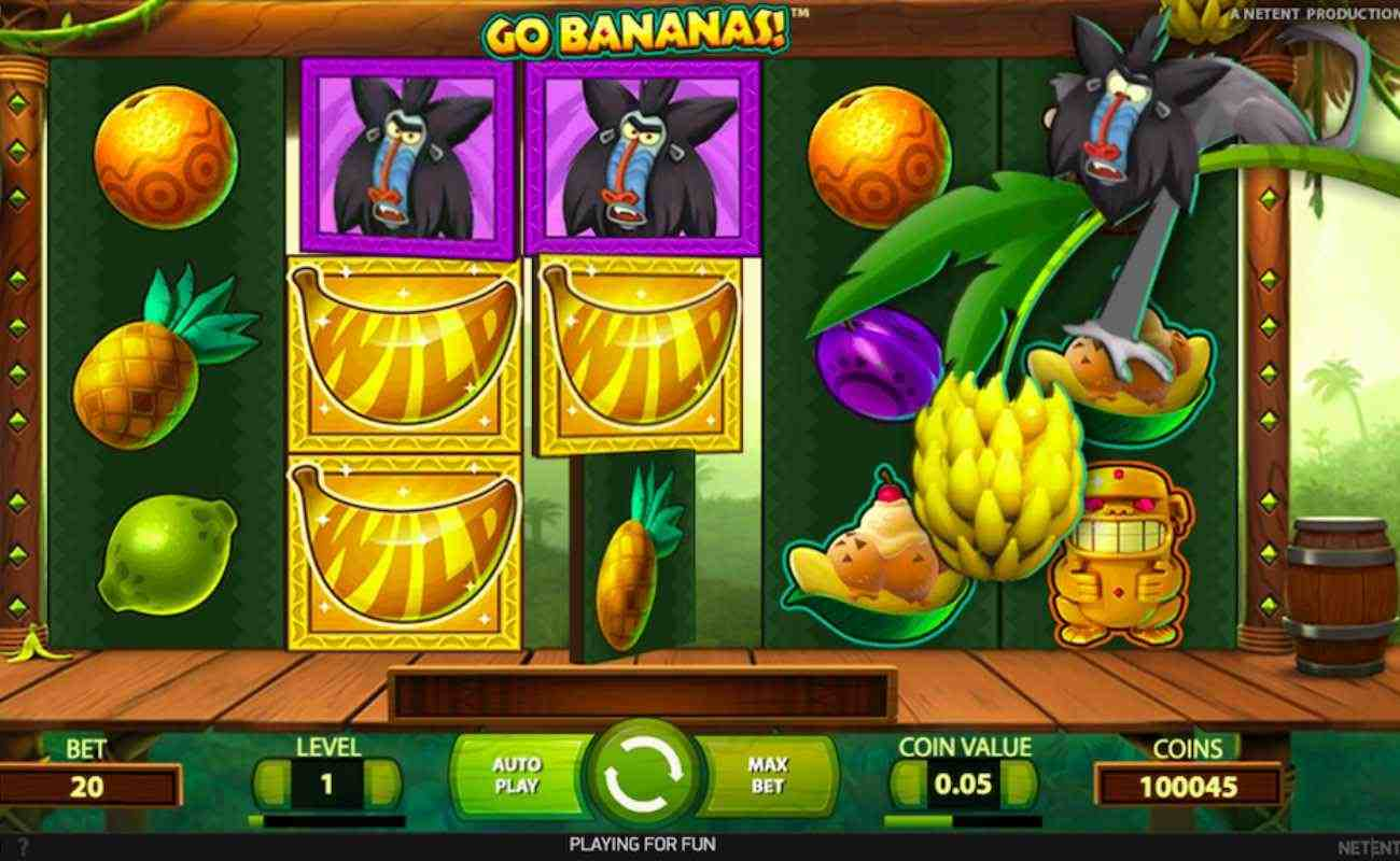 Go Bananas slot screenshot with fruit symbols and mandril