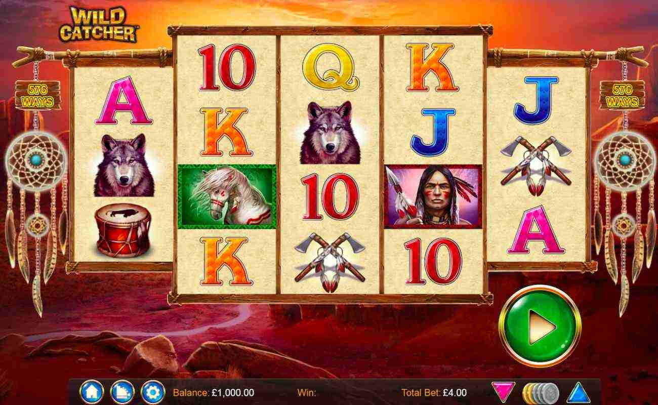 Wild Catcher slots with dreamcatchers, green play icon and native American symbols