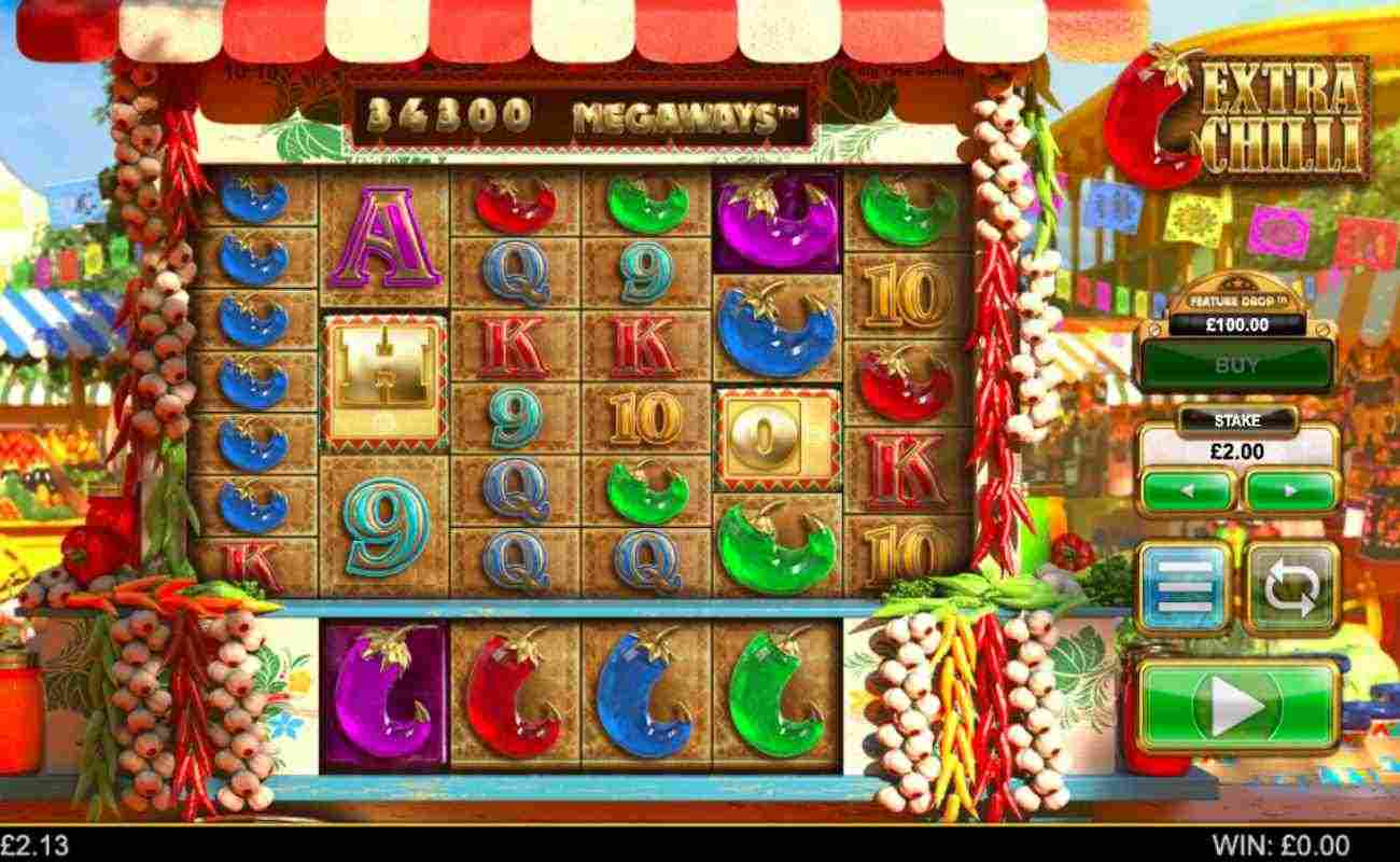 Extra Chilli slots screenshot with colorful gameplay, showing various vegetables
