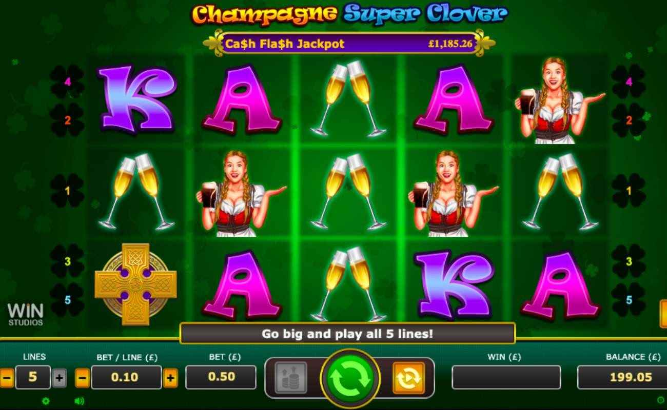 Champagne Super Clover slots gameplay, symbols on green background