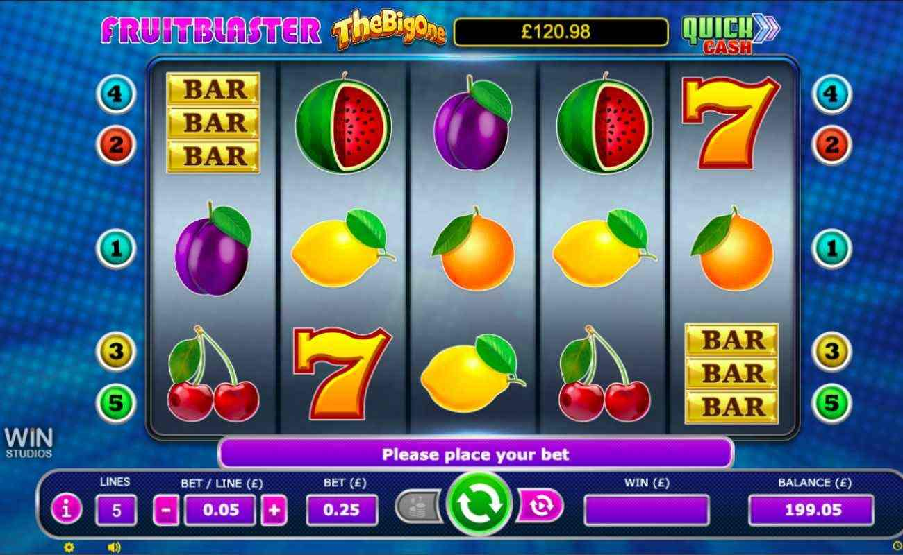 Fruit Blaster slot screenshot with bar, fruit and number 7 symbols on reels