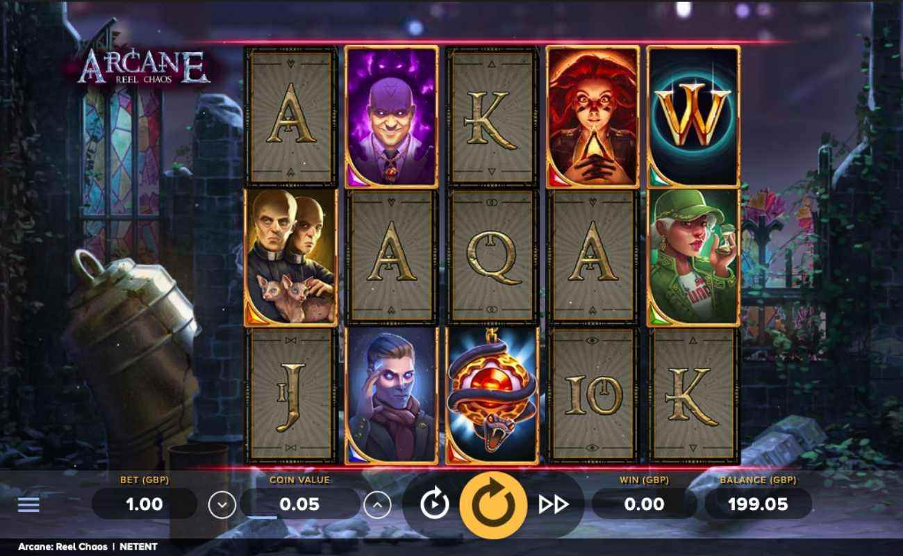 Arcane: Reel Chaos slot screenshot with game characters and letters on cards