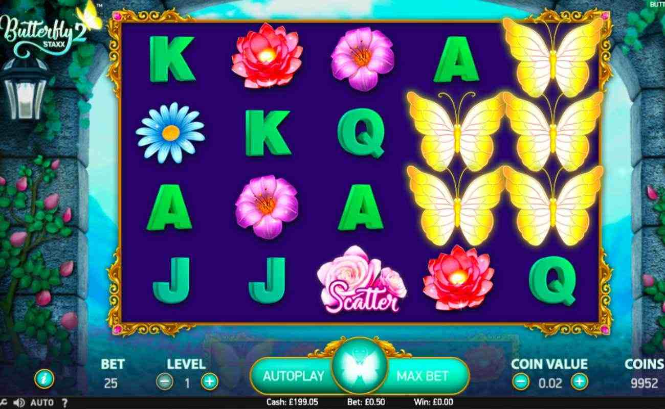 Butterfly Staxx 2 slot screenshot with letters, flowers, and butterflies on reels