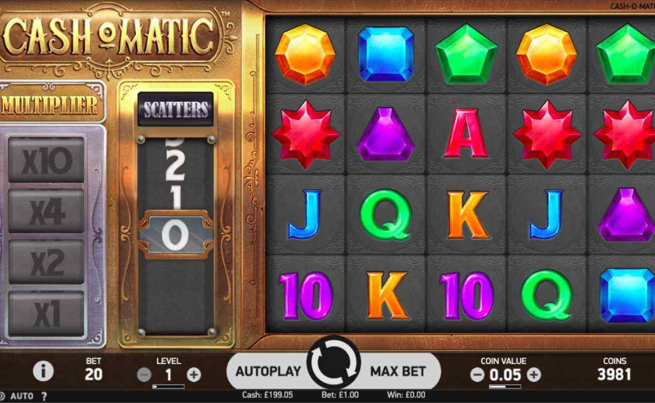Cash O Matic slots screenshot with gemstones, letters and numbers on grey tiled reels