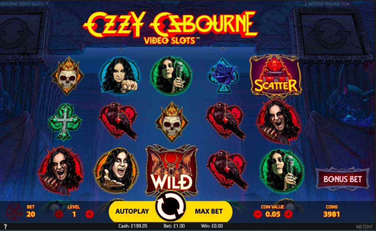 Ozzy Osbourne slot screenshot with crosses, skulls and bird symbols on blue background