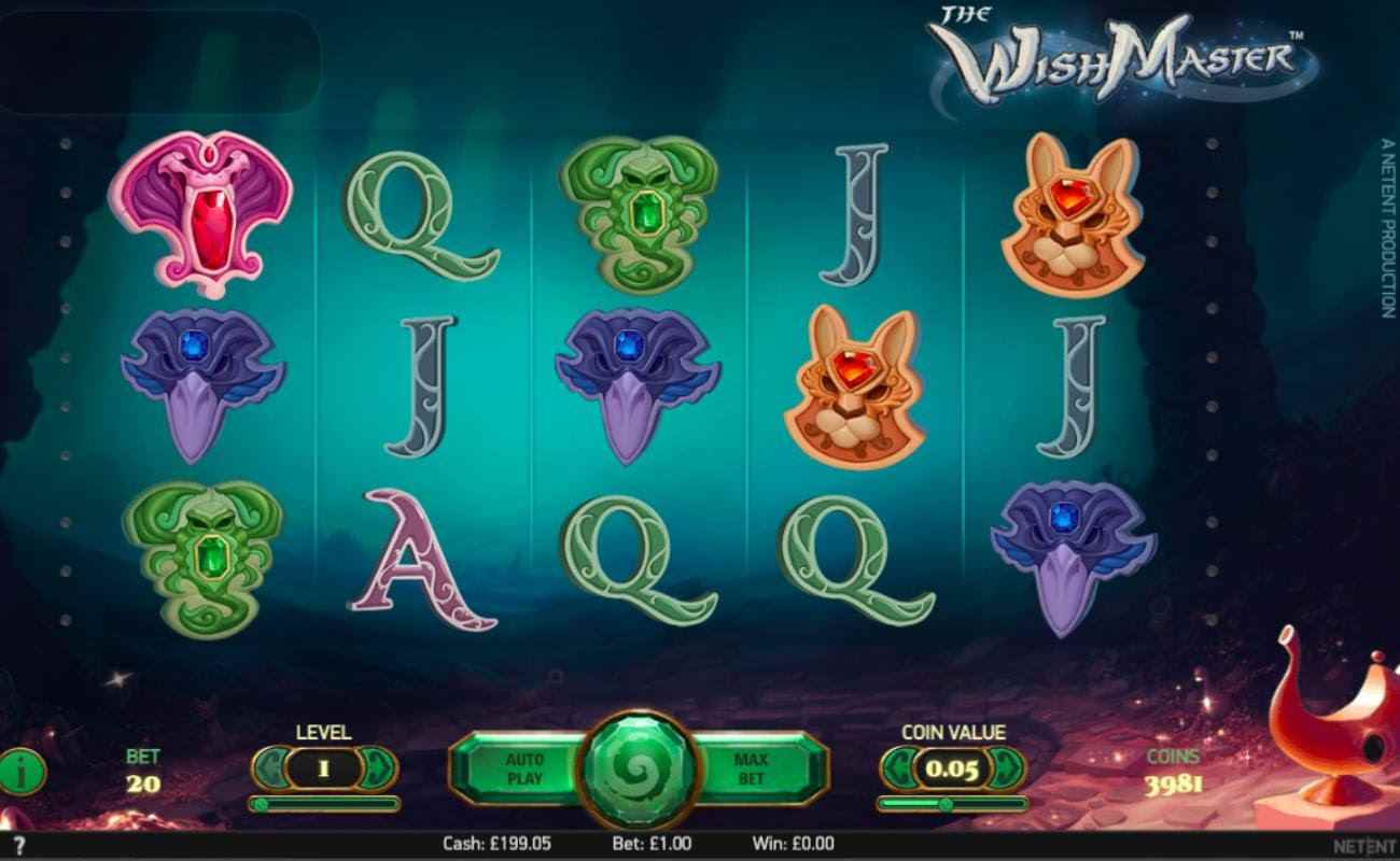 The Wish Master slot screenshot with game symbols on underwater themed background