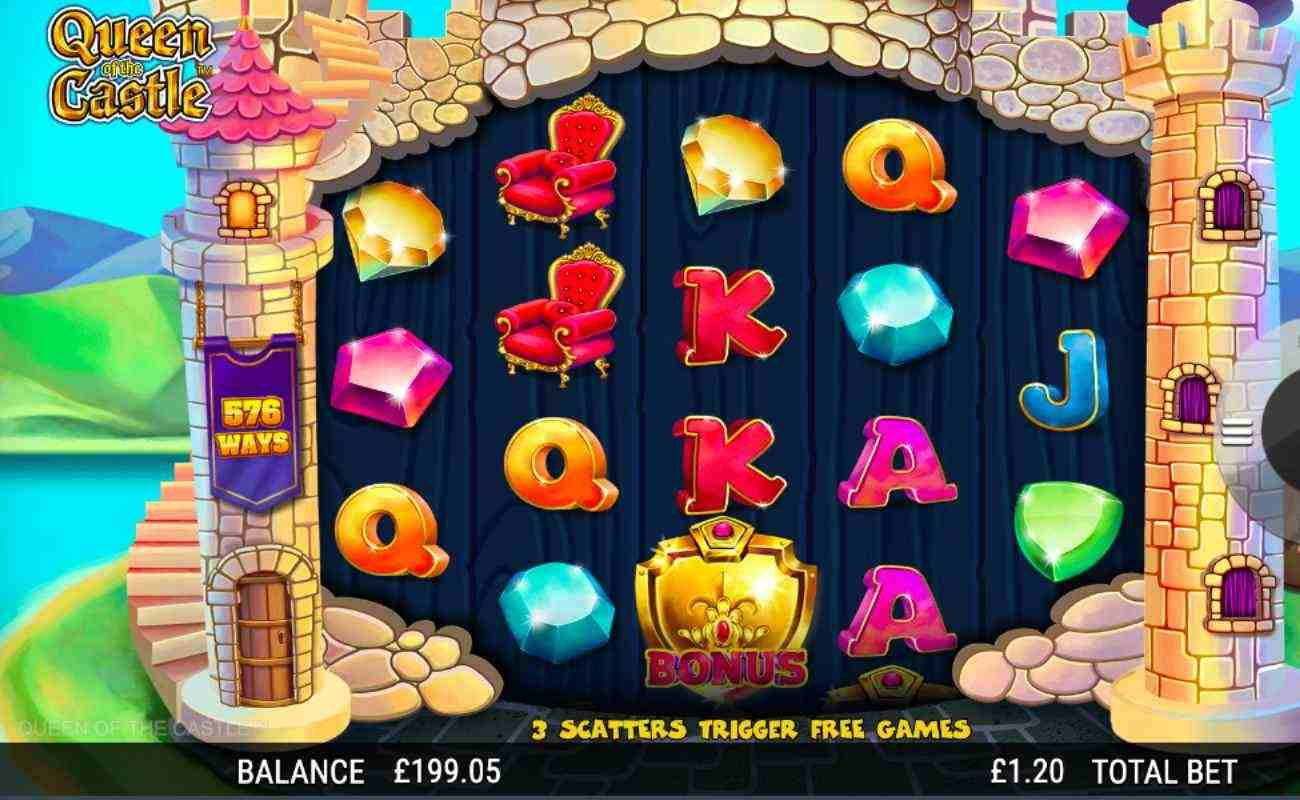 Queen of the Castle slot screenshot with gemstones, letters and chair symbols on castle-themed reel