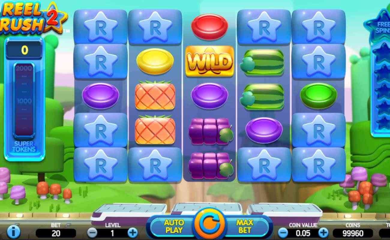 Reel Rush 2 slot screenshot with colorful symbols on blue reels