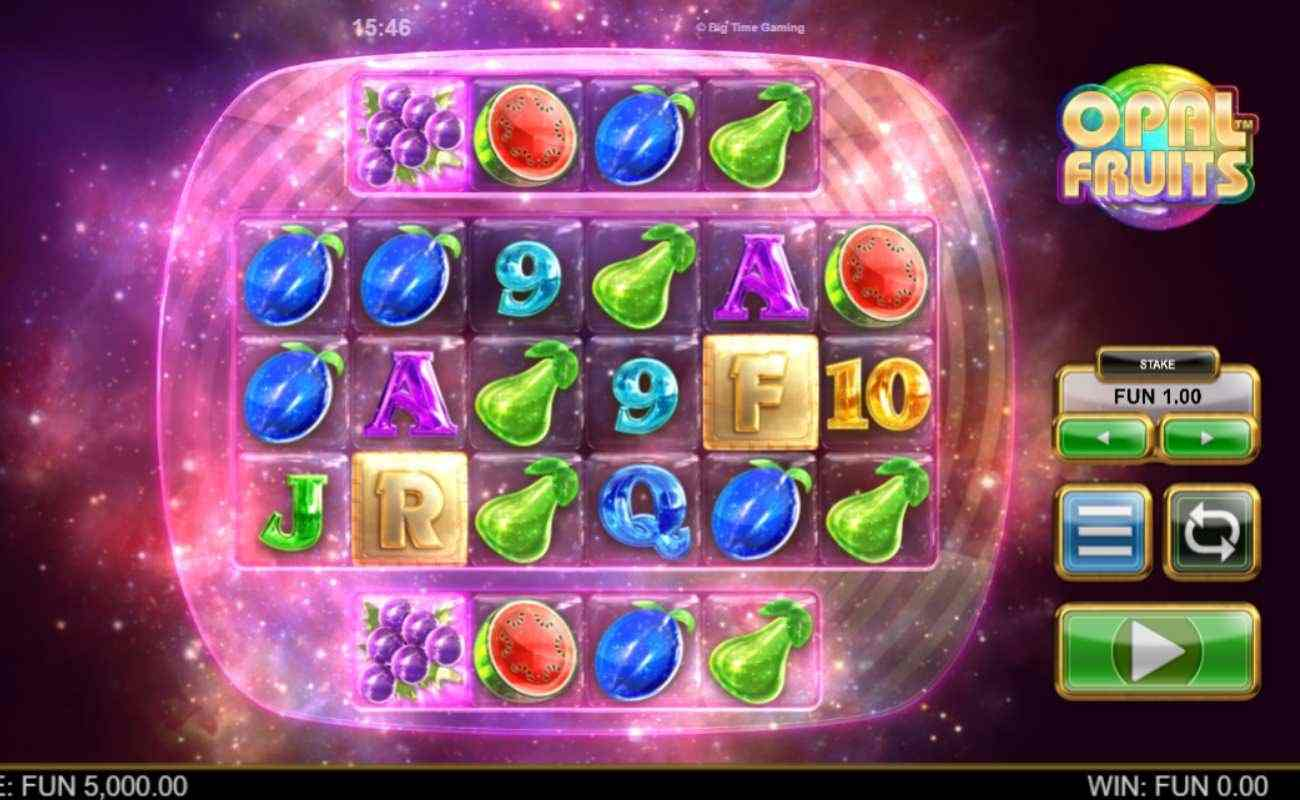 Opal Fruit slot screenshot with letters, numbers and fruit symbols on galaxy background