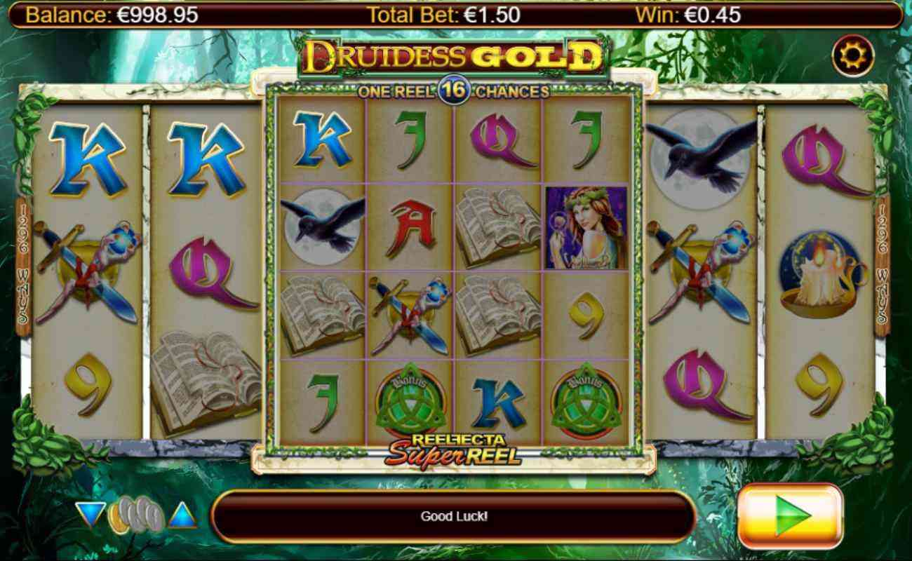 Druidess Gold slot screenshot with mystic symbols on reels