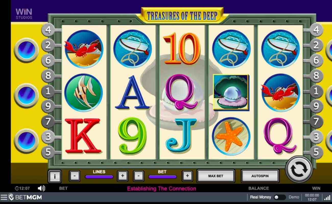 Treasures of the Deep slot screenshot with letters, numbers, and ocean-themed symbols on white reels