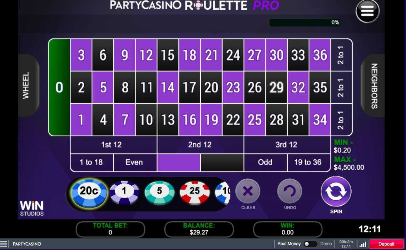 American roulette screenshot with purple background