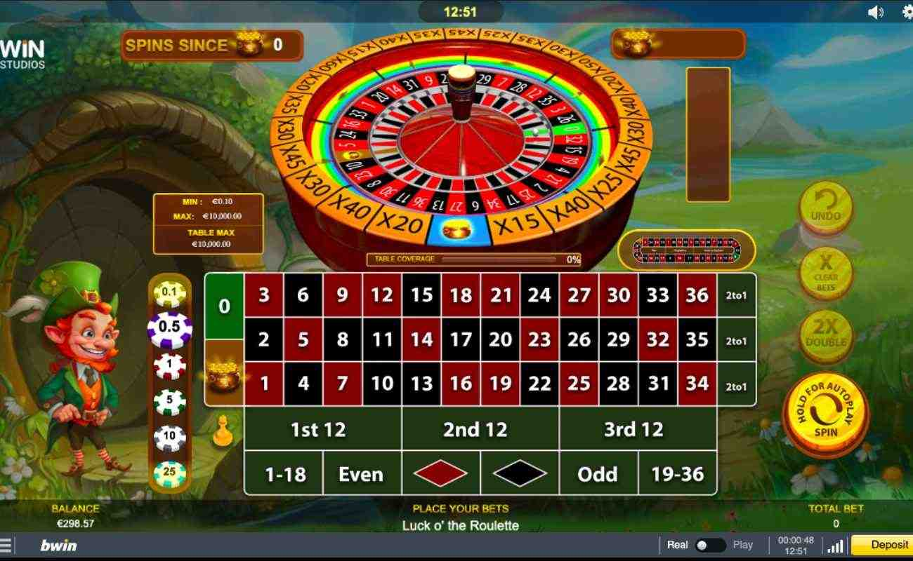 Luck O'Roulette screenshot with leprechaun and roulette table on green background