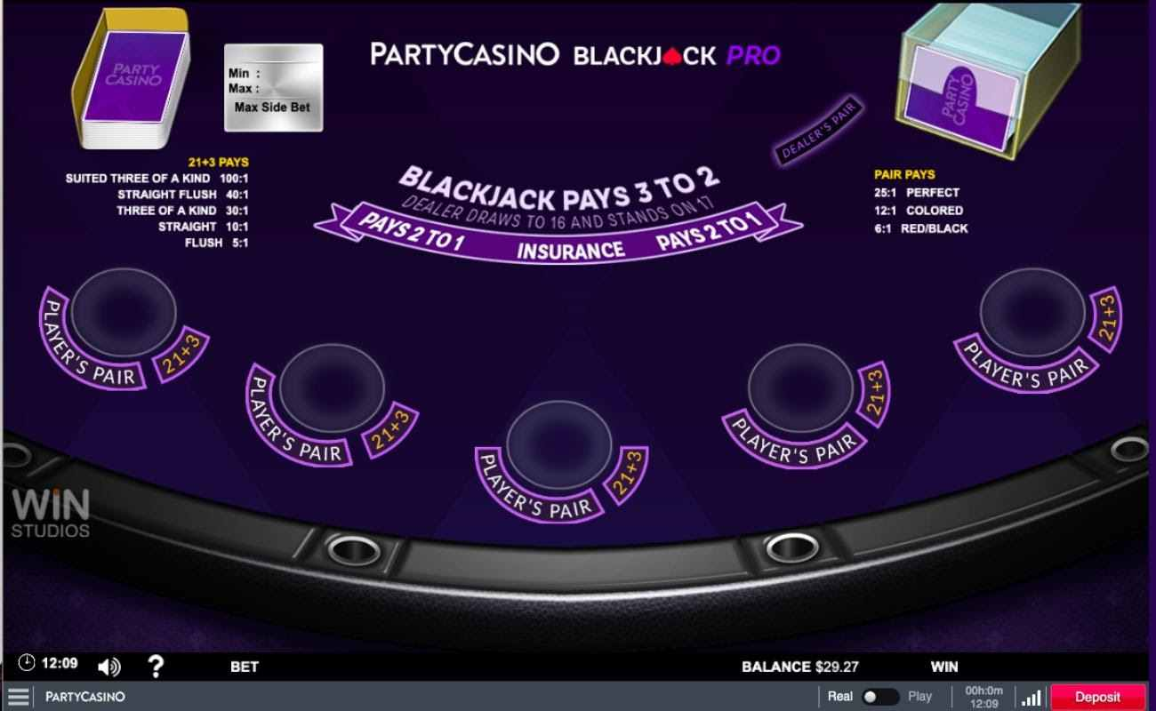 PartyCasino Blackjack Pro on purple table background