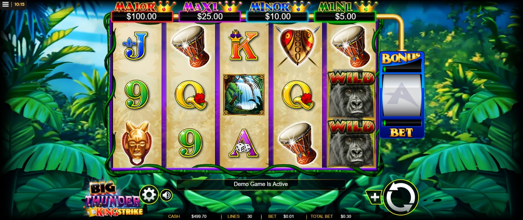 Big Thunder King Strike slot screenshot with two gorillas and jungle in the background