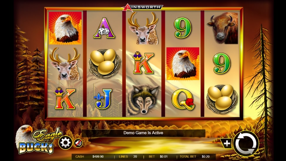 Eagle Bucks slot screenshot of the demo game with various wild animals on the screen