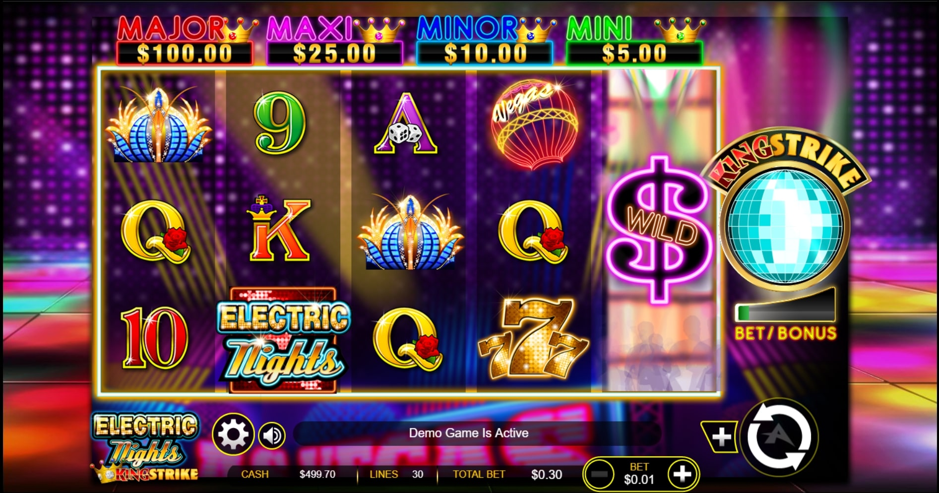 Electric Nights King Strike slot screenshot of demo game with colorful gameplay.