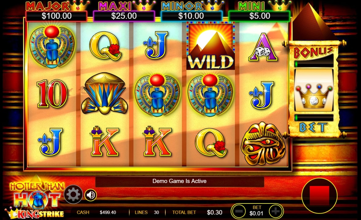Hotter Than Hot King Strike slot screenshot showing three scarab symbols from ancient Egypt