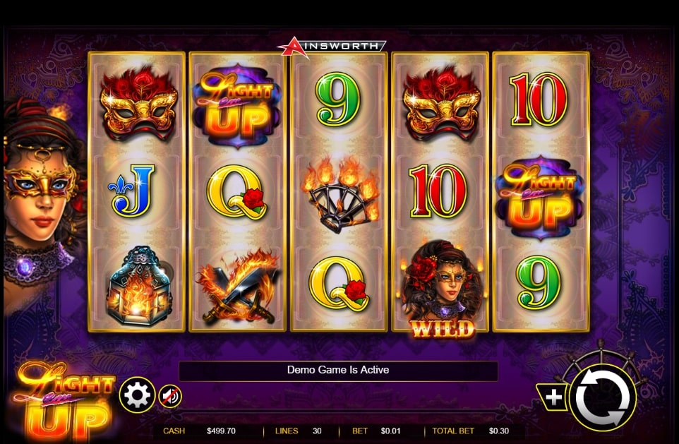 Light Em Up slot screenshot with two 9 and two 10 and a purple background