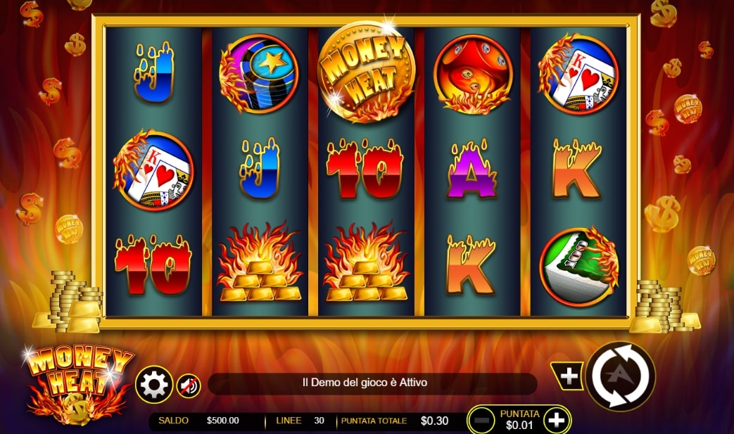 Money Heat AGT slot screenshot with flames in the background and melting characters.