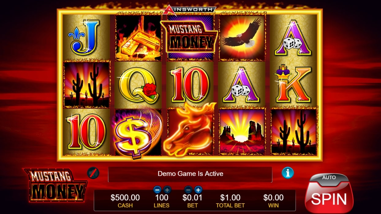 Mustang Money slot screenshot with colorful graphics, an eagle and a Mustang horse illustration
