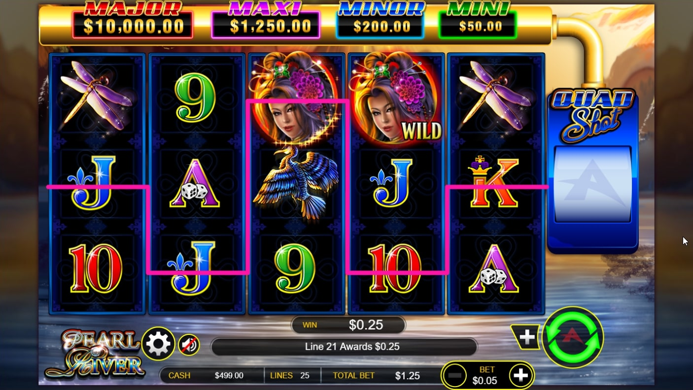 Pearl River Quad Shot slot screenshot with two dragonflies and colorful characters.