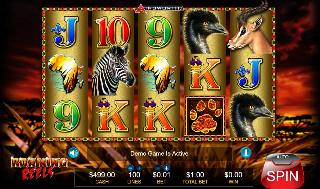 Roaming reels slot screenshot with a zebra, two emus, one gazelle and two illustrations of the African continent.