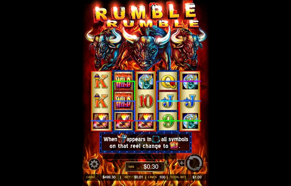Rumble Rumble slot screenshot with three fire bulls and other wild animals on the screen.