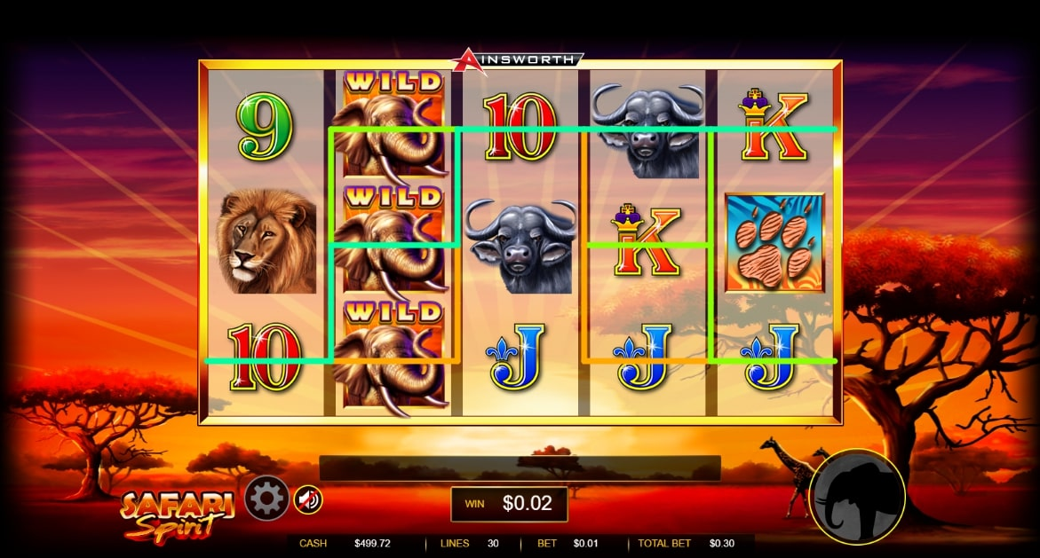 Safari Spirit slot screenshot with graphics of wild animals such as two Cape buffaloes, three elephants and a lion.