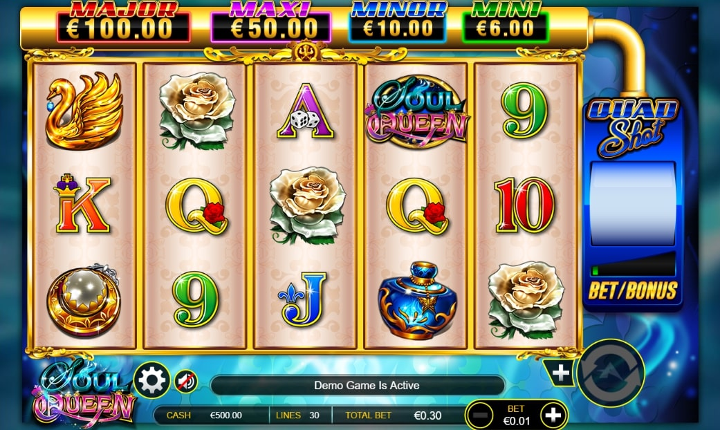 Soul Queen slot screenshot with three white roses and a blue background.