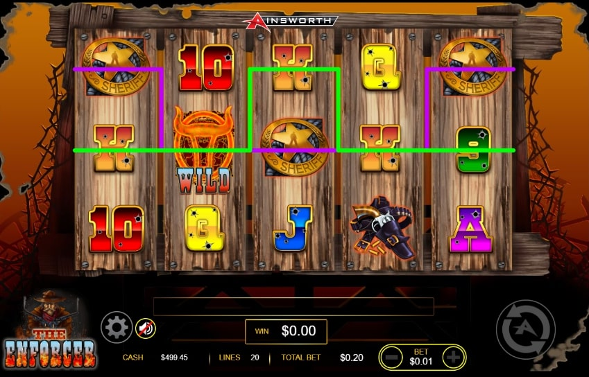The Enforcer slot screenshot showing Western themed graphics.
