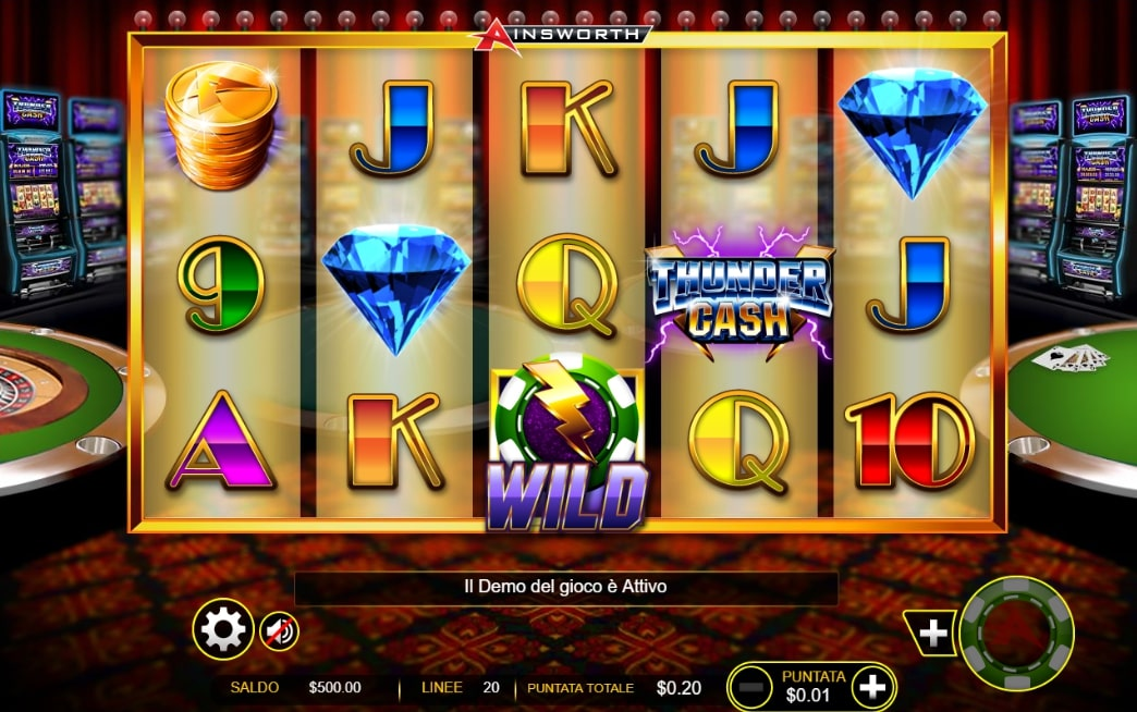 Thunder Cash slot screenshot with casino slots in the background