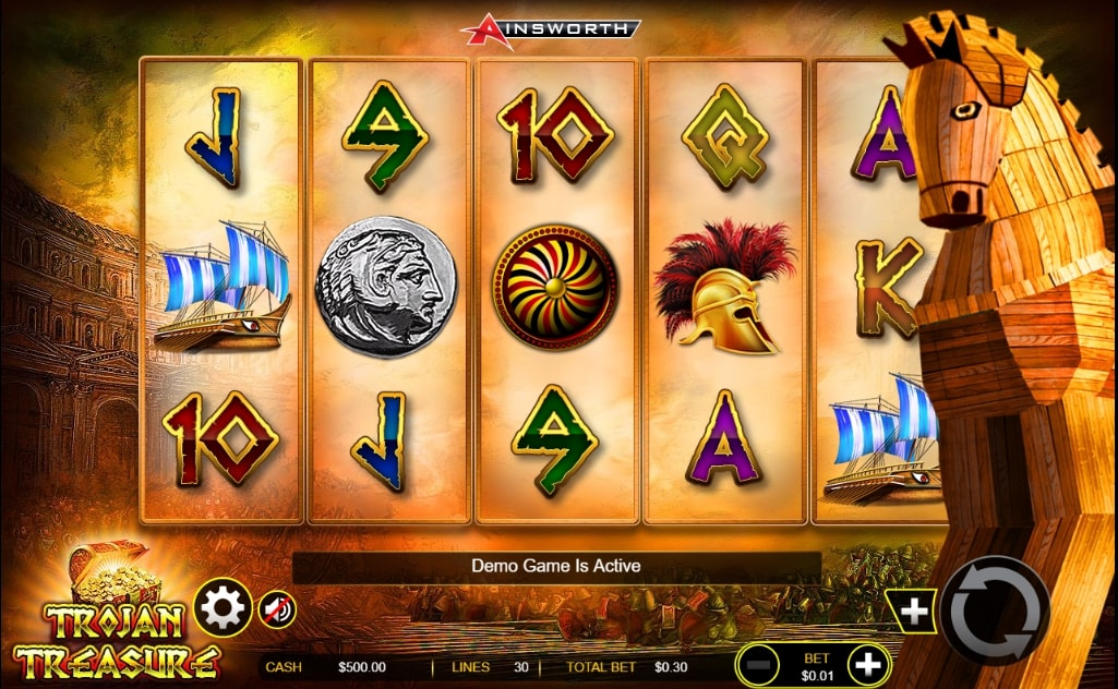 Trojan Treasure slot screenshot with ancient Greece themed graphics and a Trojan horse illustration on the right