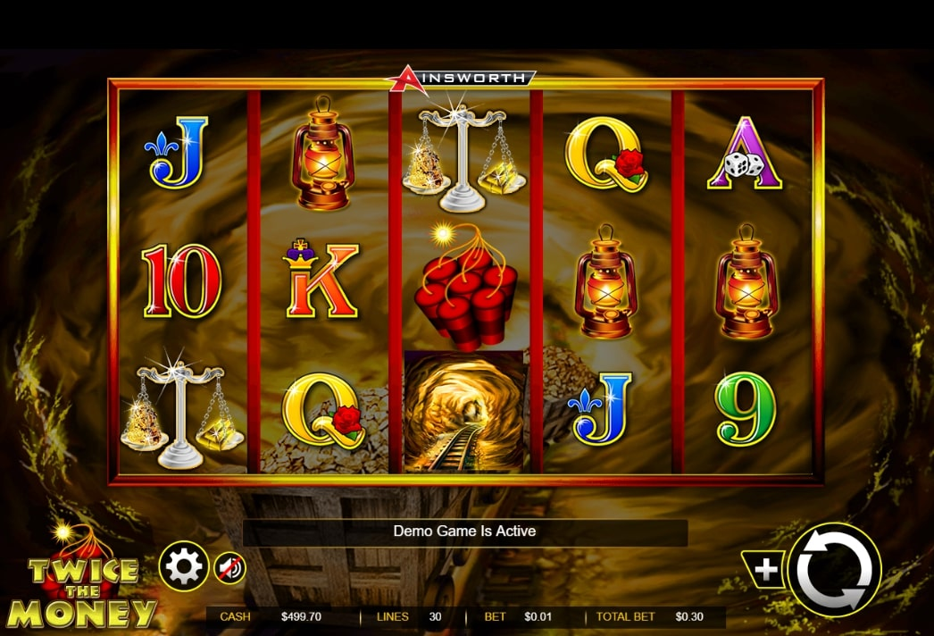 Twice the Money slot screenshot with dynamite and lanterns and a goldmine in the background