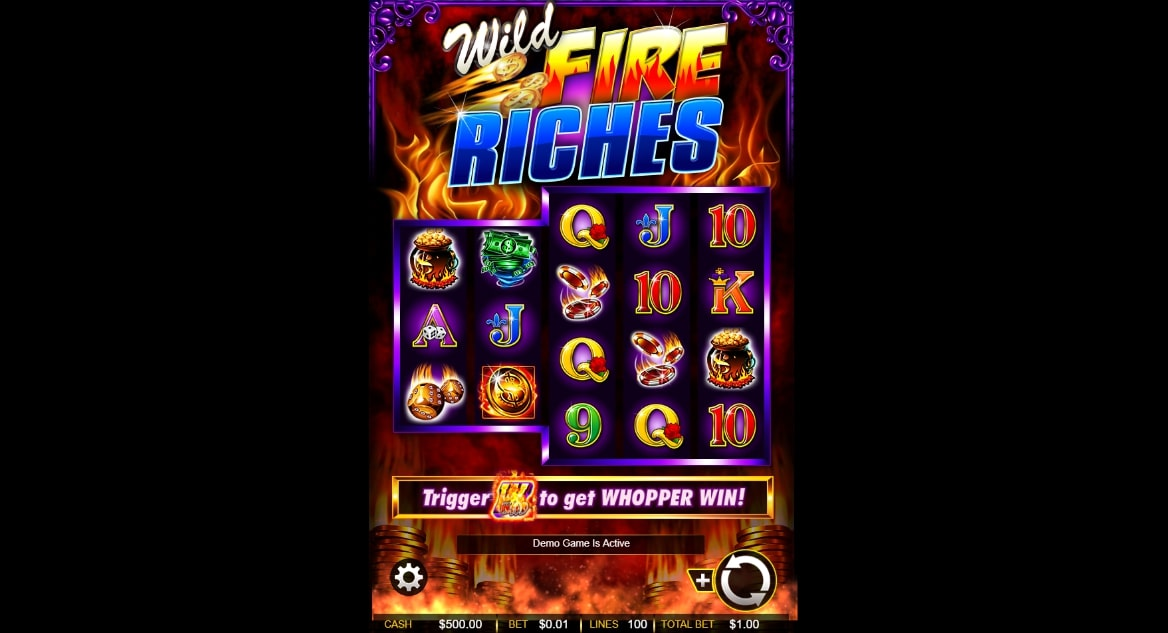 Wild Fire Riches slot screenshot with colorful graphics and flames in the background