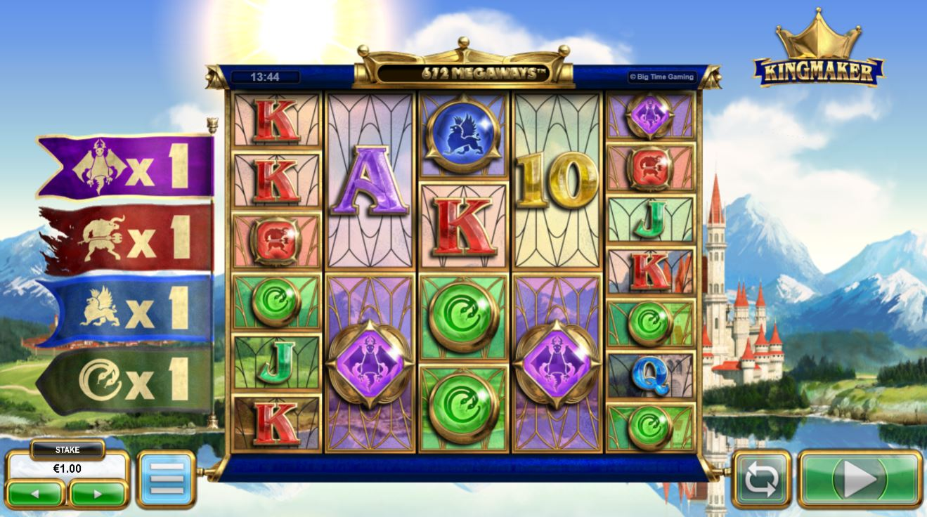 King Maker slot screenshot with four flags on the left and a castle and mountains on the background.
