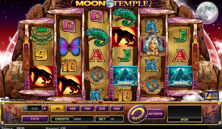 Moon Temple slot screenshot with two chameleons and various symbols
