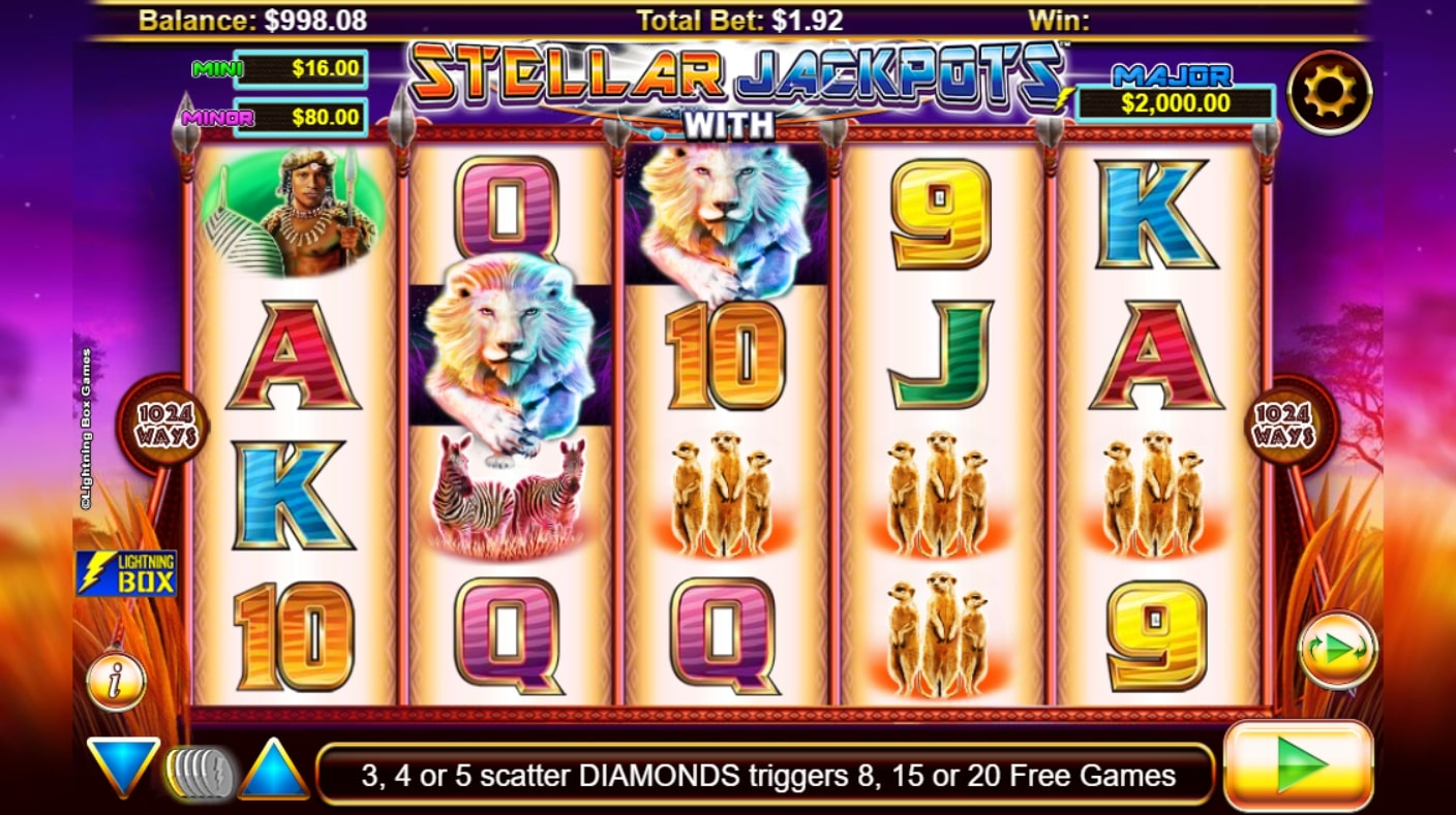 Stellar Jackpots Silver Pride slot screenshot with various wild animals and colorful graphics