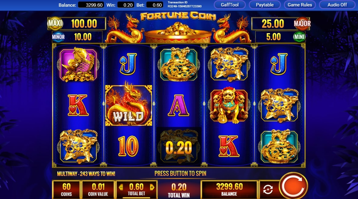 Fortune Coin slot screenshot with two golden dragons on a blue background.